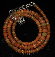 "55 Crts 1 Necklace 3to7mm 16"" Beads Natural Ethiopian Welo Fire  Opal  64912"