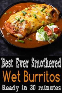 These beef and bean wet burritos are smothered with red sauce and melted cheese. Top with your favorites such as guacamole, sour cream, lettuce, onion, and tomatoes. #WetBurritos #SmotheredBurritos #burritos #MexicanFood #dinner #homemade #sauce via @ZonaCooks