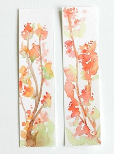 Set of Two, Original Watercolor Bookmarks, Coral and Green Blossoms