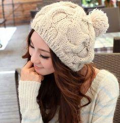Fd1415 Women Fashion Warm Winter Knit Crochet Beret Baggy Hat Cap Cute ~Beige~