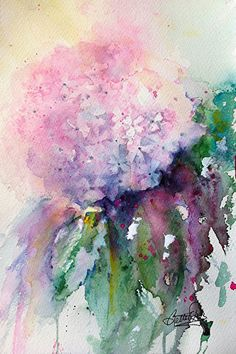"Lovely watercolor by Bette Orr​Delicate Hydrangea by Bette Orr Watercolor ~ 11.25"" x 7.25"""