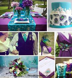 purple, aqua wedding