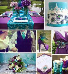 purple, aqua wedding