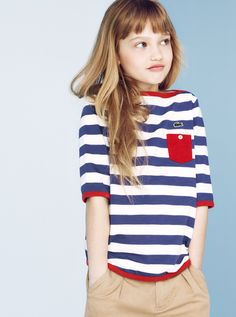 To know more about LACOSTE visit Sumally, a social network that gathers together all the wanted things in the world! Featuring over 874 other LACOSTE items too! Little Girl Fashion, Kids Fashion, Kids Mode, Estilo Navy, Girl Sleeves, Lacoste, Nautical Fashion, Nautical Style, Kid Styles