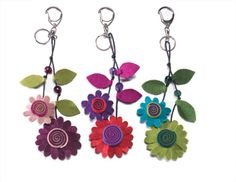 great idea for felt flower key ring   this would look cute crocheted