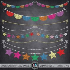 "Chalkboard Bunting Banner Clipart  ""BUNTING BANNER "" Flag clipart,Party Banner,Chalkboard Banner,Colorful Star, Instant Download Ca047 by SAClipArt on Etsy"