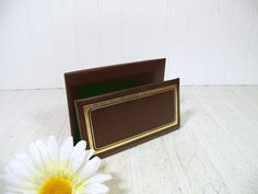 Vintage Dark Brown Leatherette Letter Bin with Gold Tooling - Retro C. R. Gibson Desk Organizer or Display Stand - BoHo Office Papers Holder $24.00 with by DivineOrders