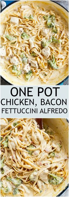 Skinny ONE POT Chicken Bacon Fettuccine Alfredo with NO HEAVY CREAM, butter or flour! Only one pot to wash up, with the pasta being cooked right IN the pot! Pollo Alfredo, Chicken Bacon Alfredo, Pasta Alfredo, Butter Chicken, Fettuccine Alfredo Recipe Chicken, Recipes With Fettuccine Noodles, Cream Chicken Pasta, Pasta Fettucine, Alfredo Noodles