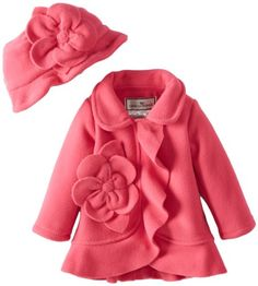 Widgeon Baby-Girls Infant Flower Ruffle Jacket, Paloma Pink, 24 Months, This is a great fashion fleece basic with a matching hat. It has a ruffle down the front, and around the hem, as well as a big fleece flower. It has side seam pockets lined with satin and a sturdy pla..., #Apparel, #Jackets