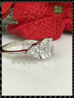 They are bright and sparkly and display more fire than the best grade of diamonds as shown in the table below. The only small drawback is that it is not as hard as natural diamond. Big Diamonds, Natural Diamonds, Engagement Bands, Solitaire Engagement, Moissanite Diamonds, Diamond Shapes, White Gold, Wedding Rings, Ebay