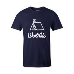 Liberte navy mens t-shirt © THE LEVEL COLLECTIVE #t-shirt #tshirt #tee #graphictee #adventure #outdoors #wanderlust #illustration #camping #explore #travel #wanderlust #outsider #outdoors #illustration #handmade #typography #liberte #freedom
