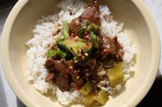 Beef and Broccoli (serves 4) 1 lb. stewing-type beef (I recommend arm roast), sliced thinly 3 cloves of garlic, chopped 1/2 cup soy sauce 1 ...