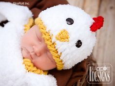 Bok Bok Easter Chicken Baby Hat and Cocoon Set PDF Crochet Pattern