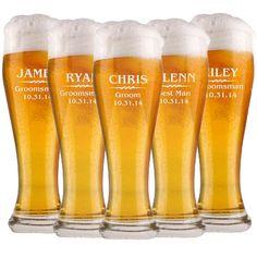 7 Groomsmen Pilsner Glasses, Personalized Beer Glass, 16oz Glasses, Gift for Groomsmen, Wedding Party Gifts, Beer Mug, Engraved Glasses on Etsy, $73.50