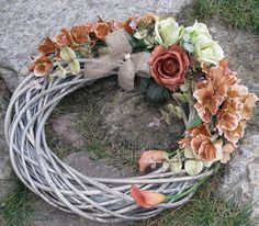 Sympathy Flowers, Grapevine Wreath, Grape Vines, Floral Wreath, Wreaths, Diy, Decor, Autumn, Floral Crown