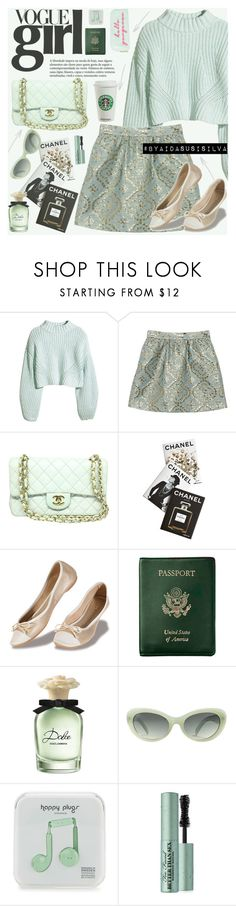 """Vogue Girl"" by aidasusisilva ❤ liked on Polyvore featuring H&M, Valentino, Chanel, Assouline Publishing, Royce Leather, Dolce&Gabbana, MANGO, Happy Plugs, Too Faced Cosmetics and Lolo"