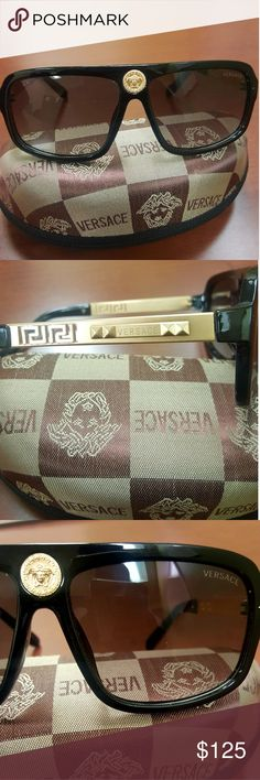 Authentic Versace Gold Framed Dark Sunglasses Authentic Versace Gold Framed Dark Sunglasses In Case Versace Accessories Sunglasses