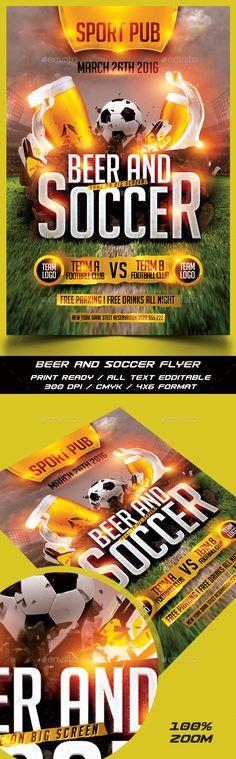 Soccer and Beer Flyer Template PSD #design Download: http://graphicriver.net/item/soccer-and-beer-flyer/13597403?ref=ksioks