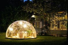 A multipurpose geodesic dome designed both as a winter garden and a summer canopy. Create comfortable outdoor living spaces for your Hobby Greenhouse, Playground, Garden Storage, Conservatory or Ga… Outdoor Rooms, Outdoor Living, Indoor Outdoor, Pergola Alu, Canopy Cover, Geodesic Dome, Design Seeds, Cozy Room, Urban Farming