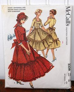 Vintage 1959 McCall's 2329 Misses Centennial & Square Dance Costume with SunBonnet Size 12 Bust Skirt Patterns Sewing, Costume Patterns, Mccalls Patterns, Vintage Sewing Patterns, Fabric Patterns, Bonnet Pattern, Retro Fabric, Retro Pattern, Cosplay
