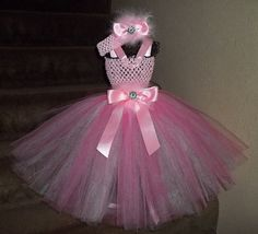 Chic Pink Tutu Dress/Headband Set -Rhinestone Decoration,Pink Satin--A must see!-1st,Birthday,Pageant,Flower Girl-Pink,Pretty,Trendy,Shabby