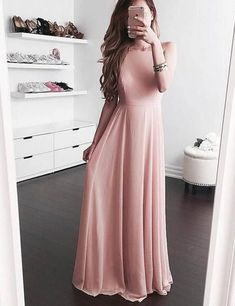 Simple Square Sleeveless Floor-Length Blush Prom Dress with Pleats