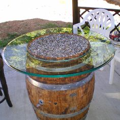 Hand Built Wine Barell firepit w/glass rocks, glass tabletop,works on HVLP gas can ie BBQ propane can with igniter and key shutoff and push button ignite.