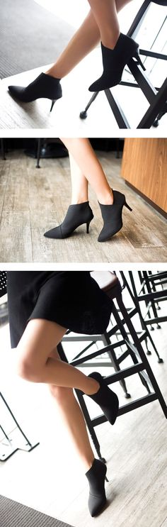 buy online 08157 37580 Pointed Toe Stiletto Heels Stretch Cloth Boots – Mollyca  StilettoHeels