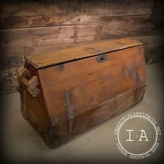 Vintage Industrial Carpenter's Tool Box Wooden Chest