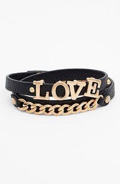 BP. 'Love' Faux Leather Wrap Bracelet (Juniors) available at #Nordstrom