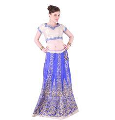 Blue Silver Raw Silk Lehnga Choli- Thread and Resham Work On Raw Silk