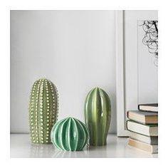 IKEA - SJÄLSLIGT, Dekoration, set om 3, Du kan inreda ditt hem med gröna växter utan att behöva vattna, eftersom kaktusarna är tillverkade i keramik.