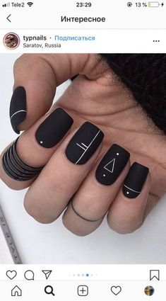 23 Cute Uniqorn Nail Art Designs For Kids 2019 - Nage .- 23 cute Uniqorn nail art designs for kids 2019 # 2019 # for - Matte Nails, Acrylic Nails, Coffin Nails, Black Nail Art, Matte Black, Mat Black Nails, Black Art, Black White, Trendy Nail Art