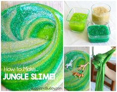 How to Make Jungle Slime- a simple, basic slime recipe perfect for a jungle, rainforest, or African savannah unit. Jungle Activities, Rainforest Activities, Preschool Jungle, Eyfs Activities, Craft Activities For Kids, Science For Kids, Toddler Activities, Projects For Kids, Crafts For Kids
