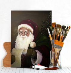 by Diana M.  christmas santa claus tree presents winter painting Characters
