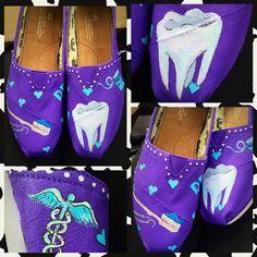 Custom painted Dental/Dental Assistant Toms. Designed by DrXShop