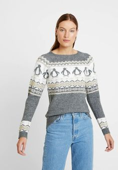 Dorothy Perkins FAIRISLE TINSEL PENGUIN - Pullover - grey marl - ZALANDO.CH Dress To Impress, Penguins, Pullover, Grey, Lace, Christmas, Dresses, Women, Fashion