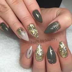 Image result for green nude and gold nails
