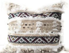 Moroccan Wedding Blanket Pillow Cover Vintage, Textile, Ethnic, Handwoven, Natural White, Embroidered, Sequins