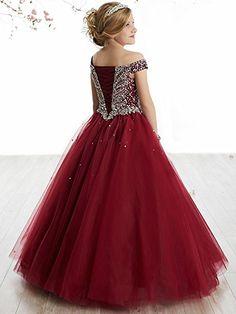 Amazon.com  WZY Girls Illusion Rhinestone Beading Ruffled Christmas Ball  Gown Princess Pageant Dress 251705c3a1f4