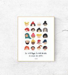 Sei nicht Pippi. Sei nicht Annika. Sei einfach du selbst! von #Kinderwaerts auf #Etsy / Affiliate Link #kinderzimmerdeko #illustration #kinderzimmerposter Little Boys, Illustrators, Etsy, Frame, Inspiration, Link, Art, Pippi Longstocking, Gifts For Women