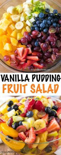 Vanilla Pudding Fruit Salad is a simple and sweet twist on a traditional fruit s. Vanilla Pudding Fruit Salad is a simple and sweet twist on a traditional fruit salad recipe. This easy dessert has a beautiful rainbow of fruit in an easy vanilla sauce ma Fruit Salad With Pudding, Best Fruit Salad, Fruit Salad Recipes, Fruit Fruit, Breakfast Fruit Salad, Jello Salads, Fruit Party, Weight Watchers Fruit Salad Recipe, Yogurt Fruit Salad