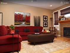 The Red Couch Becomes An Instant Focal Point In The Room [Design: Willow  Tree Interiors] Good Ideas