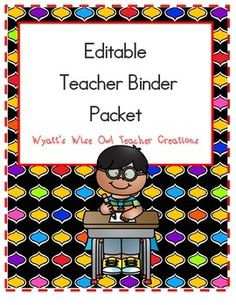 """Editable Teacher Binder Packet-- Growing BundleThis unit is a Growing Bundle. What's does this mean? Well, I will be adding more editable templates to this product. As I add new files the price of the product will increase. However, if you purchase the Growing Bundle you will get all of the additional templates for FREE!To receive the updates all you will have to do is re-download the unit from the """"My Purchases"""" tab on your dashboard.As a HUGE THANK YOU for ALL of your support thi..."""