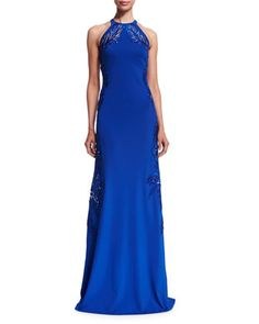 Leaf-Embellished Open-Back Halter Gown, Blue by Roberto Cavalli at Bergdorf Goodman.