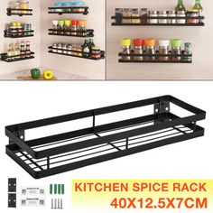 Wall Mounted Kitchen Freezer Door Spice Rack Cabinet Organizer Storage Holder | eBay Door Spice Rack, Pipe Shelf Brackets, Storage Organization, Freezer, Wall Mount, Spices, Doors, Cabinet, Kitchen