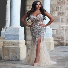 Luxury Crystal Dresses Evening Wear 2016 Split Side Corset Beaded Rhinestone Plus Size See Through Champagne Women Mermaid Party Prom Dress Dress Prom Elegant Gowns From Toprated, $195.71| Dhgate.Com