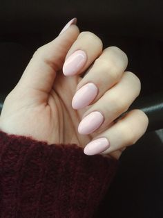 Almond short pink acrylic nails