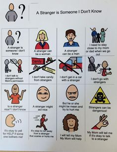 """""""A Stranger is Someone I Don't Know"""" is an excellent visual support to use when teaching your child(ren) about stranger danger. It is so important for kids to learn this information, and the pictur. Teaching Safety, Teaching Kids, Teaching Themes, Protective Behaviours, Social Stories Autism, Safety Awareness, Autism Awareness, Stranger Danger, Visual Aids"""