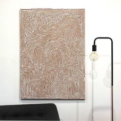 Bold lines create this brilliant new optical work by Walter Jangala Brown which shares part of the Tingari cycle.  107x76cm | $1099 or $110 per month with Art Money | Free delivery | Available via our homepage (bio link)  This painting depicts a portion of the Tingari cycle, a very important collection of Dreaming narratives from the Western Desert region. The country that this painting depicts is located far to the west of Yuendumu, and spans a vast area of land across the Gibson and Great…